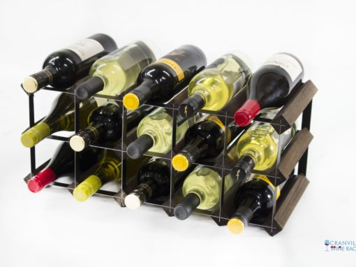 Classic 15 bottle dark oak stained wood and black metal wine rack ready assembled by Cranville Wine Racks Ltd