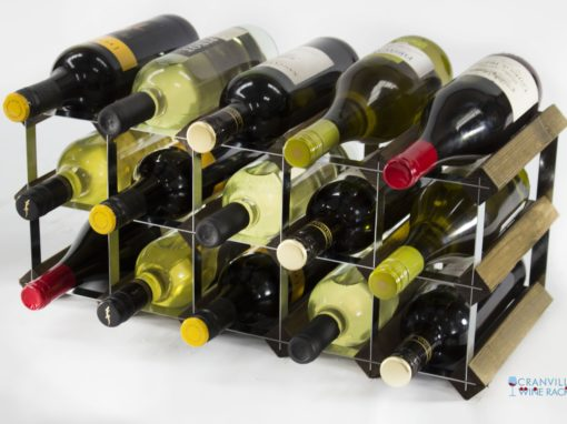 Classic 15 bottle walnut stained wood and galvanised metal wine rack ready assembled by Cranville Wine Racks Ltd
