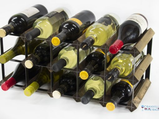Classic 15 bottle walnut stained wood and black metal wine rack ready assembled by Cranville Wine Racks Ltd
