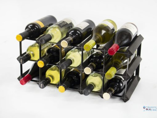 Classic 15 bottle black stained wood and black metal wine rack ready assembled by Cranville Wine Racks Ltd