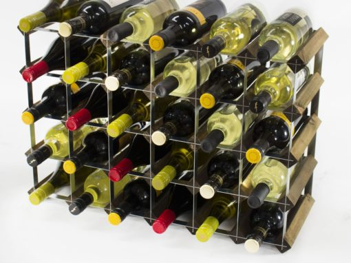 Classic 30 (6×4) bottle walnut stained wood and galvanised metal wine rack ready assembled by Cranville Wine Racks Ltd