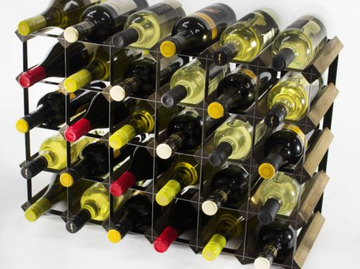 Classic 30 (6×4) bottle walnut stained wood and black metal wine rack ready assembled by Cranville Wine Racks Ltd