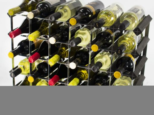 Classic 30 (6×4) bottle black stained wood and black metal wine rack ready assembled by Cranville Wine Racks Ltd