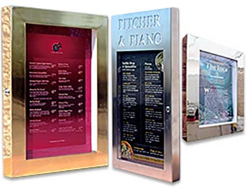 Brass Menu Case by Cafe Menu Systems